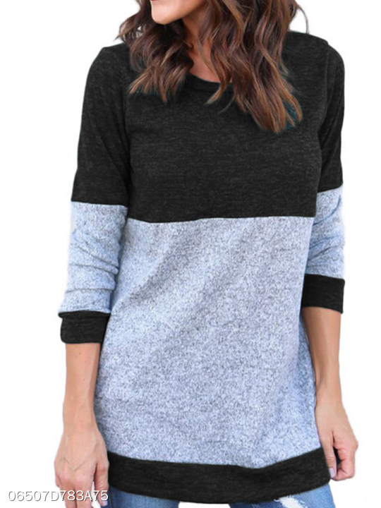 d5a2077df Round Neck Patchwork Color Block Knit Pullover - berrylook.com