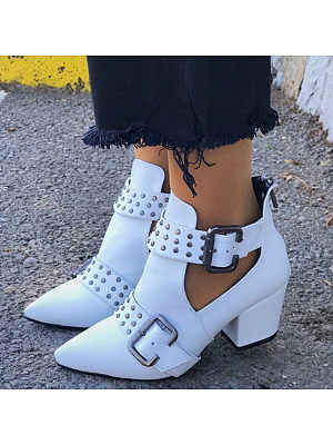 Berrylook coupon: Chunky Mid Heeled Point Toe Date Outdoor Short High Heels Boots