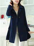 Image of Lapel Double Breasted Patch Pocket Plain Woolen Coat