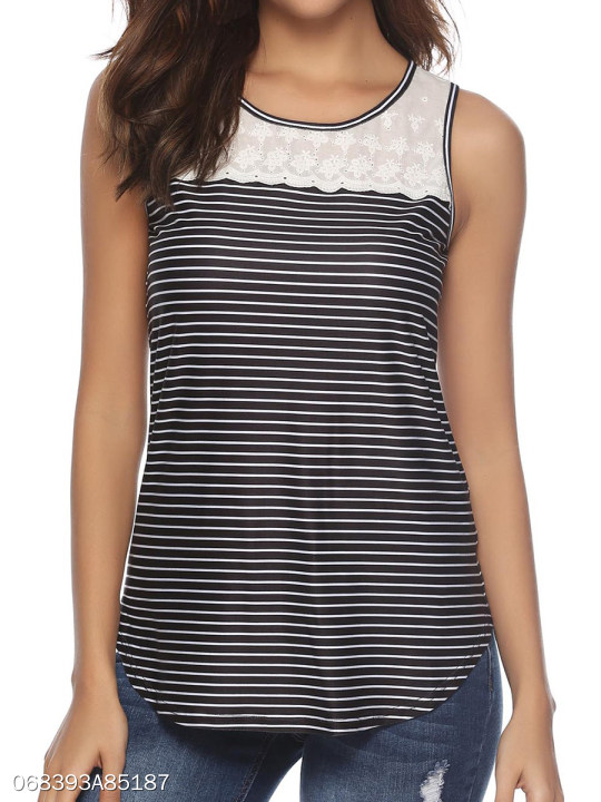9316312036a5 Round Neck Patchwork Lace Striped Sleeveless T-Shirts - berrylook.com
