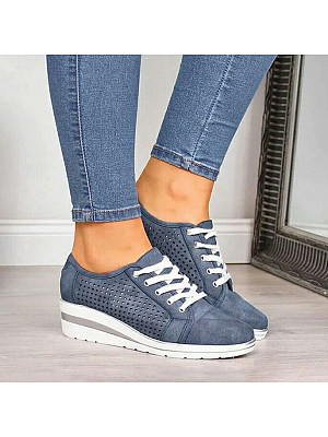 Plain Point Toe Casual Travel Sneakers, 7458313