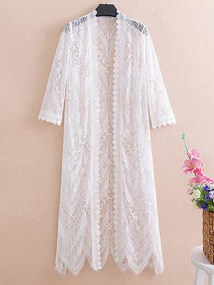 Patchwork Elegant Lace Three-Quarter Sleeve Cardigans, 8042978