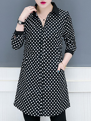 Lapel Patchwork Brief Polka Dot Long Sleeve Blouse, 9426086