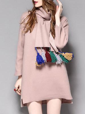 Cowl Neck Fringe Plain Shift Dress, 9474006