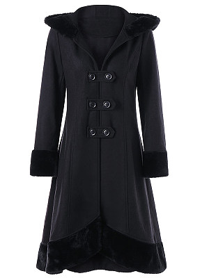 Hooded Lace-Up Plain Woolen Long Coat