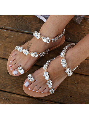 Plain Flat Peep Toe Date Travel Wedding Flat Sandals, 7199107