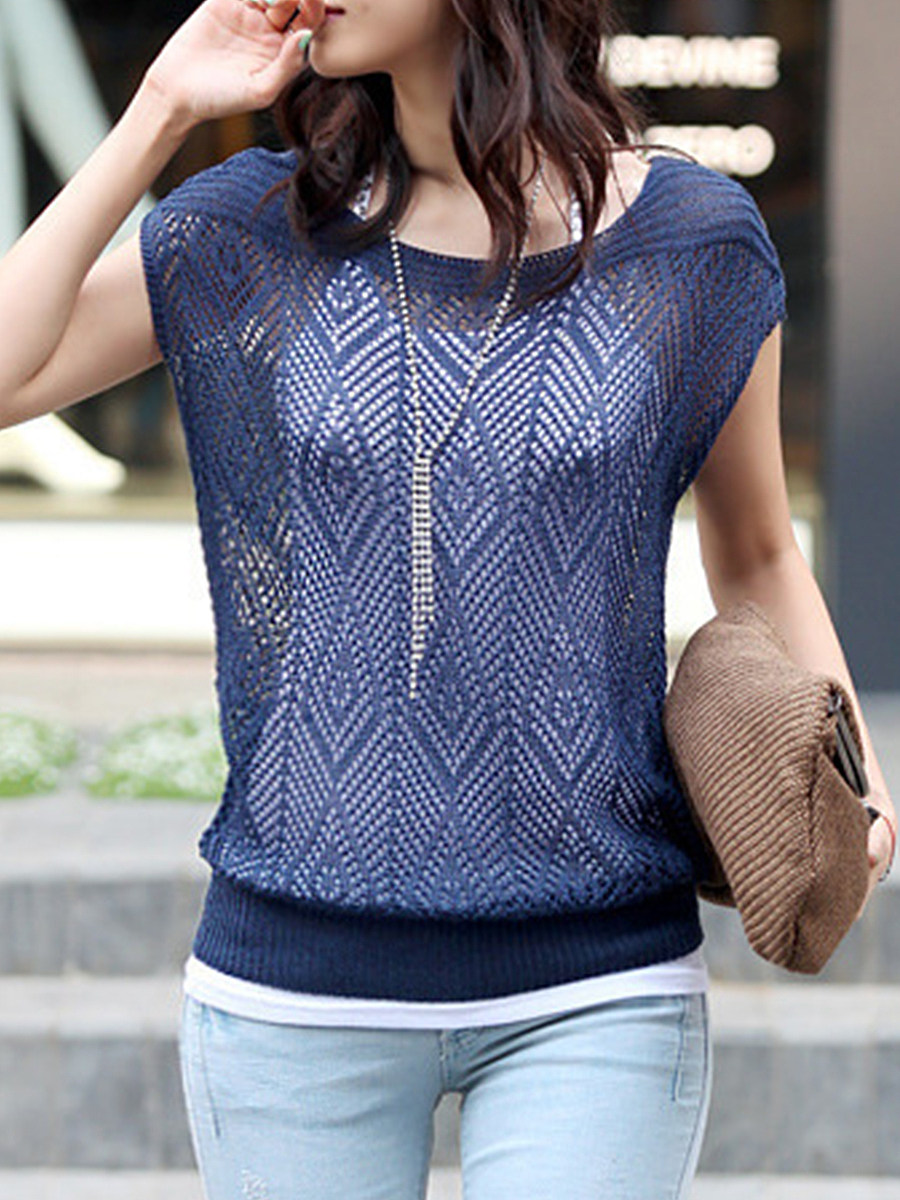 BerryLook Round  Neck  Patchwork  Elegant  Plain  Short Sleeve  Knit Pullover