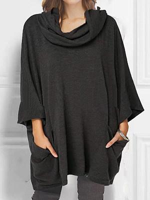Heap Collar Casual Plain Long Sleeve T-Shirt, 9532400