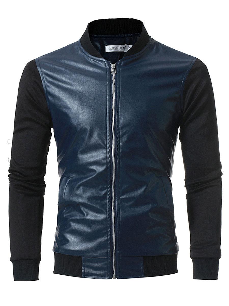 Band Collar Patchwork Color Block Pocket Men Jacket