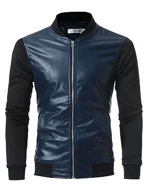 Band Collar Patchwork Color Block Pocket Men Jacket фото