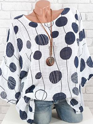 Berrylook coupon: Round Neck  Loose Fitting  Polka Dot Blouses