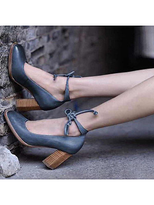 Berrylook coupon: Vintage Chunky High Heeled Ankle Strap Date Pumps