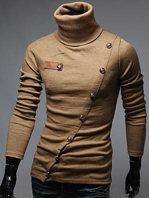 Berrylook coupon: Men Turtleneck  Decorative Button  Plain T-Shirt