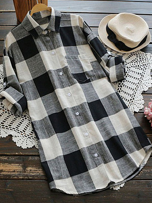 Turn Down Collar Loose Fitting Checkered Blouses
