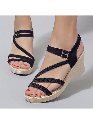 Plain High Heeled Ankle Strap Peep Toe Casual Date Wedge Sandals фото