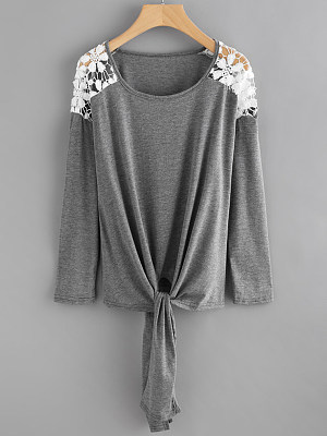 Round Neck Lace Up Loose Fitting Patchwork Lace Long Sleeve T-Shirts