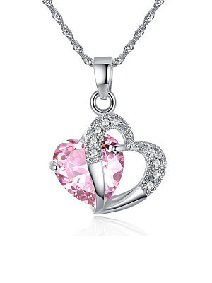 Berrylook coupon: Faux Crystal Rhinestone Heart Necklaces