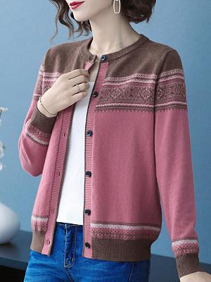 Round  Neck  Elegant  Bohemian  Long Sleeve  Knit  Cardigan