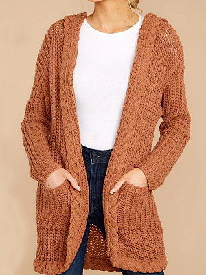 Hat Collar Patchwork Casual Plain Long Sleeve Knit Cardigan