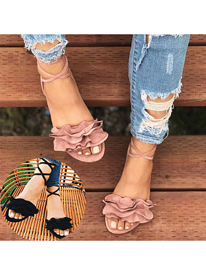 Plain Flat Suede Peep Toe Casual Date Flat Sandals, 6194344