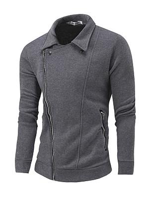 Berrylook coupon: Lapel  Zips Pocket  Plain Men Coat