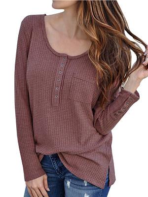 Round Neck Patchwork Regular Casual Long Sleeve T-Shirt, 8297484