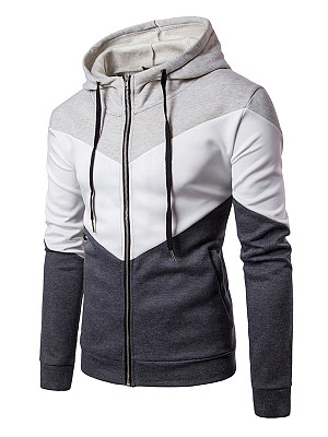 Hooded Color Block Pocket Zips Men Coat