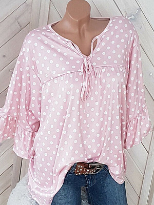 Tie Collar  Patchwork  Dot  Bell Sleeve Blouses