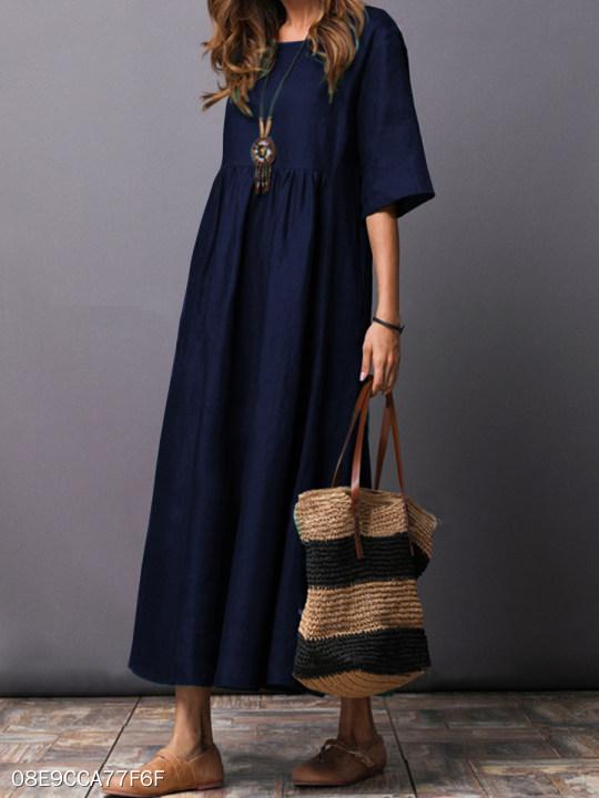 a6b50f2cdb Round Neck Plain Cotton/Linen Maxi Dress - berrylook.com