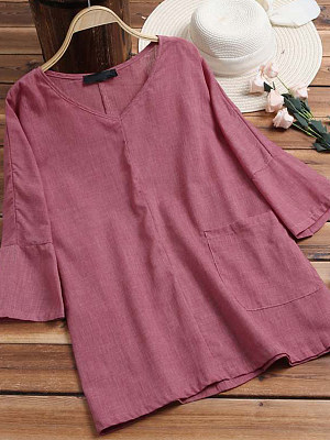 V Neck Patch Pocket Plain Blouses