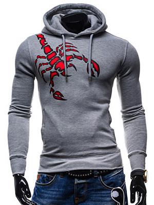 Men Drawstring Pocket Lobster Printed Hoodie