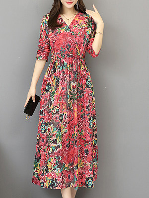 Berrylook V Neck Floral Printed Maxi Dress shop, online shop, Fitted Maxi Dresses, long formal dresses, empire waist dress