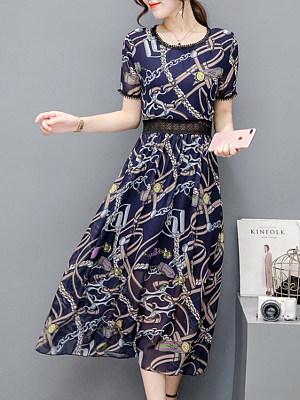 Round Neck Patchwork Print Maxi Dress