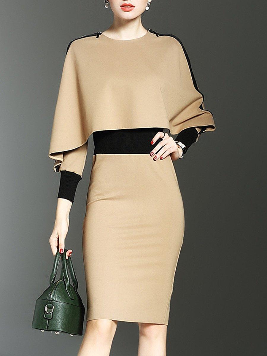 V Neck  Slit  Two Way  Color Block Bodycon Dresses