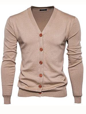 Basic Single Breasted Plain Men'S Cardigan фото