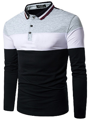 Polo Collar Men Color Block Striped T-Shirt