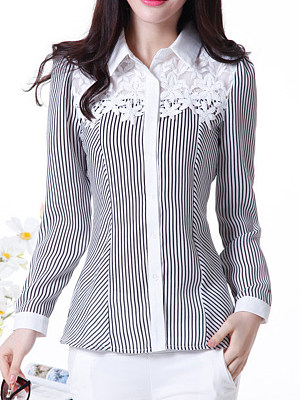 Turn Down Collar Decorative Lace Striped Blouse. $21.95. Doll Collar  Printed Long Sleeve Blouse. $24.95. Band Collar See-Through Plain Blouse