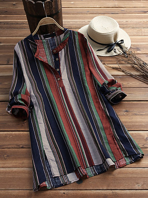 Band Collar Loose Fitting Color Block Striped Blouses, 6765847