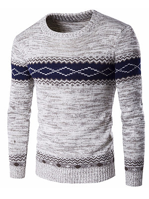 Round Neck Color Block Men'S Sweater