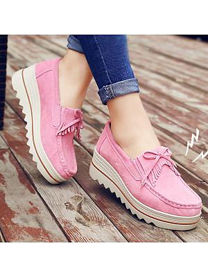 Plain Mid Heeled Velvet Round Toe Date Sneakers, 6007667