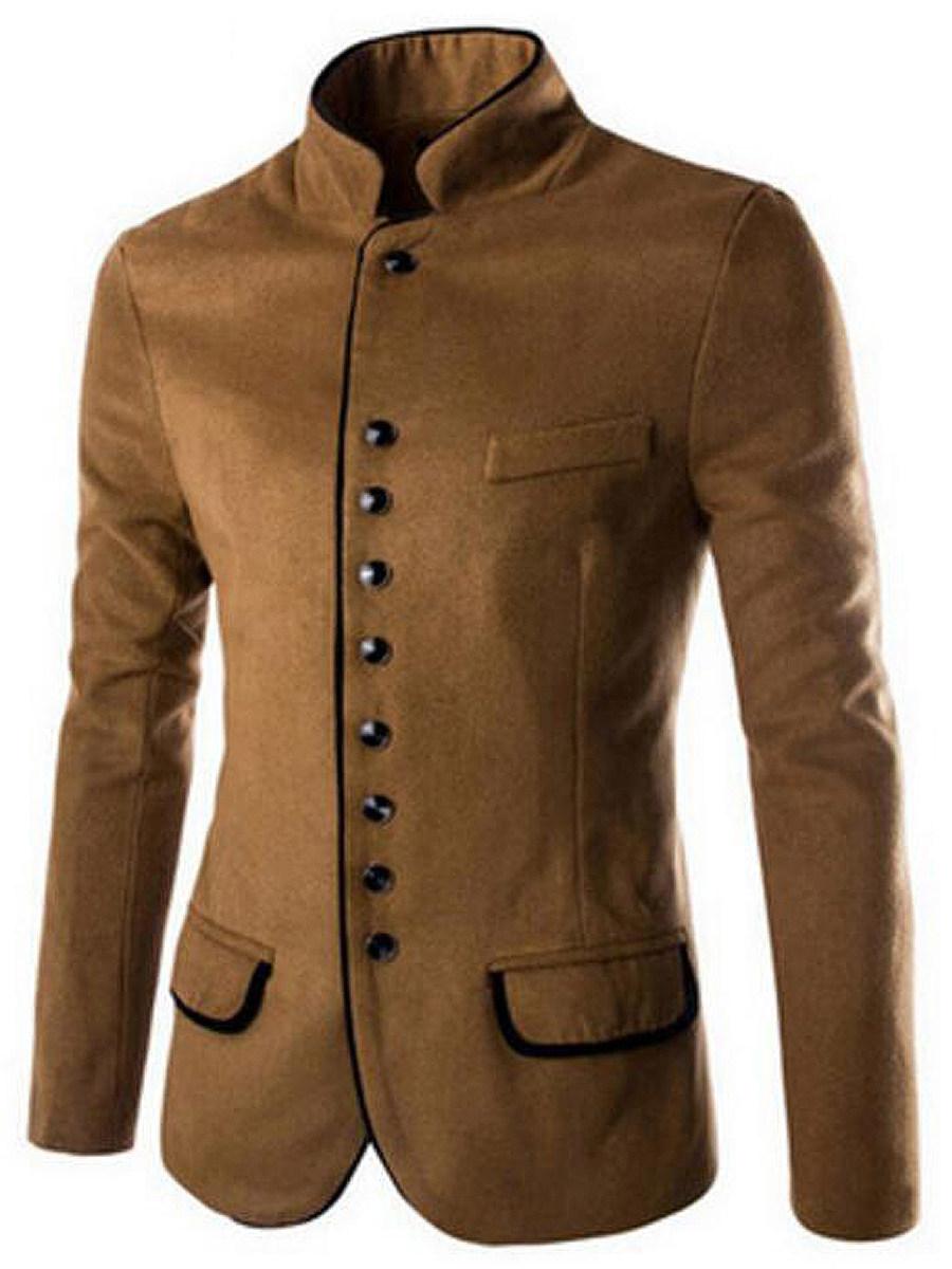 Men Band Collar Single Breasted Woolen Plain Coat