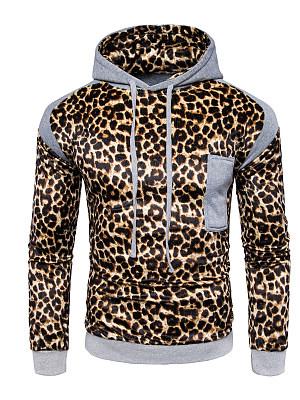 Leopard Color Block Men Hoodie фото