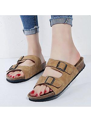 Plain Flat Velvet Peep Toe Casual Comfort Slippers