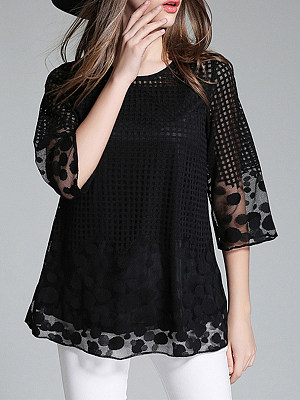 Round Neck Cutout Embroidered Patchwork Plain Short Sleeve T-Shirts, 4566040