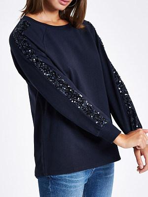 Round Neck Paillette Plain Long Sleeve Sweatshirts