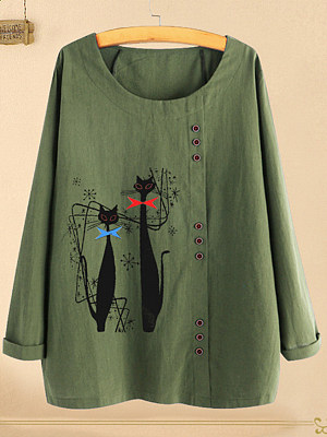 Round Neck Patchwork Casual Printed Linen Long Sleeve Blouse, 8459665