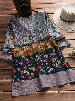 Autumn Spring Cotton Women V-Neck Decorative Lace Floral Printed Half Sleeve Long Sleeve T-Shirts, 5616561