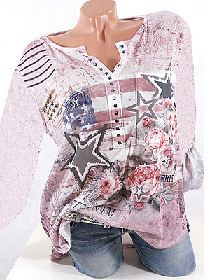 Autumn Spring Cotton Women V-Neck Beading Floral Printed Star Long Sleeve Blouses фото