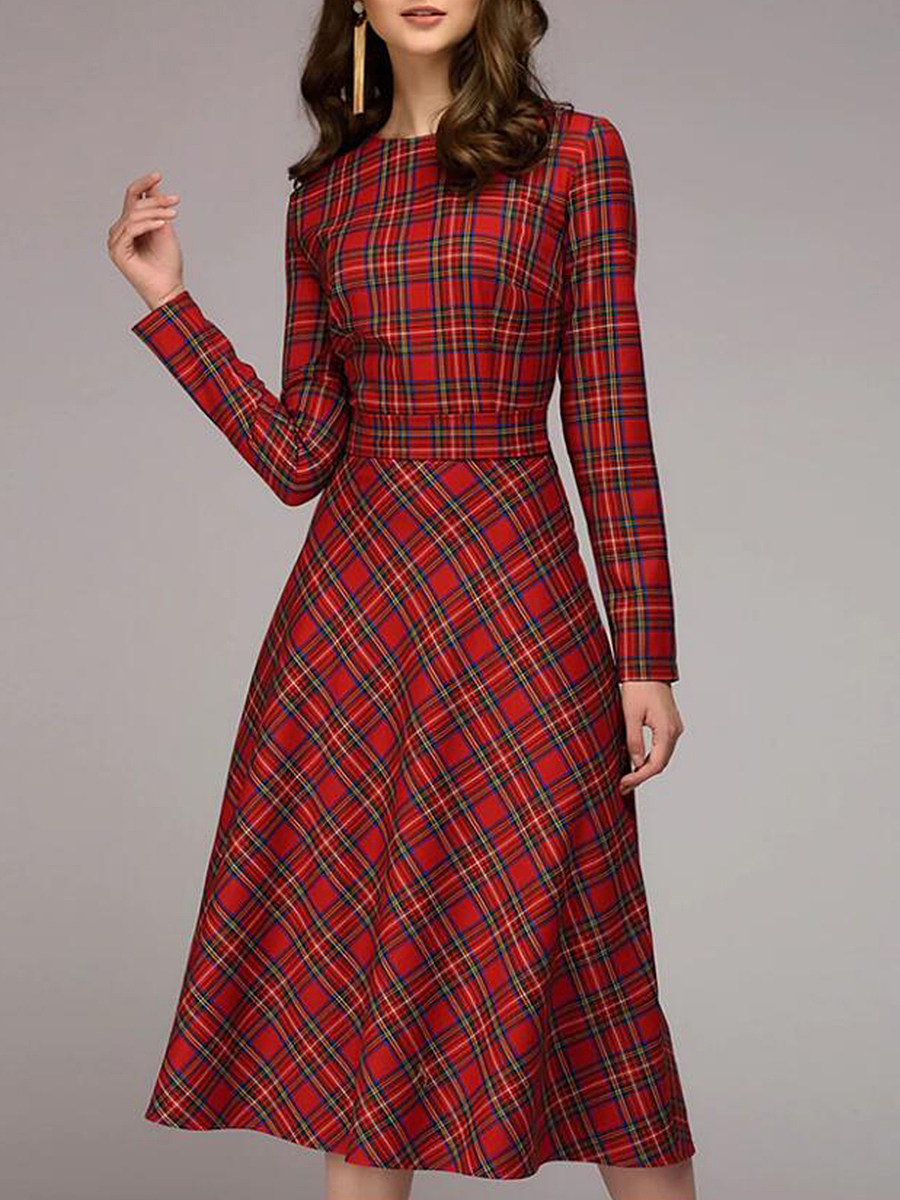 Round Neck Checkered Skater Dress