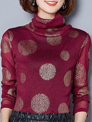 Heap Collar Elegant Polka Dot Long Sleeve T-Shirt, 9607349